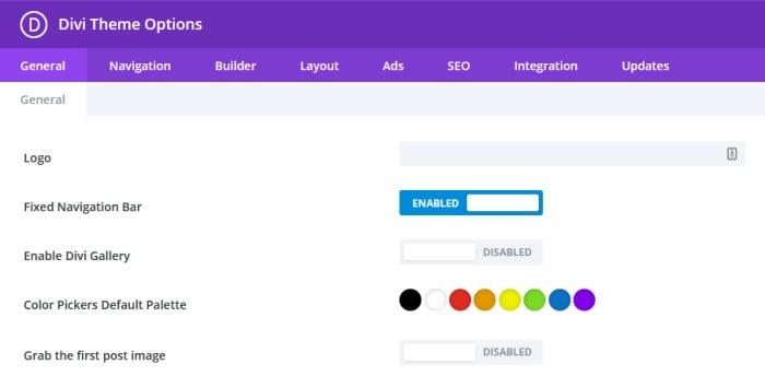 elegant themes divi default options page
