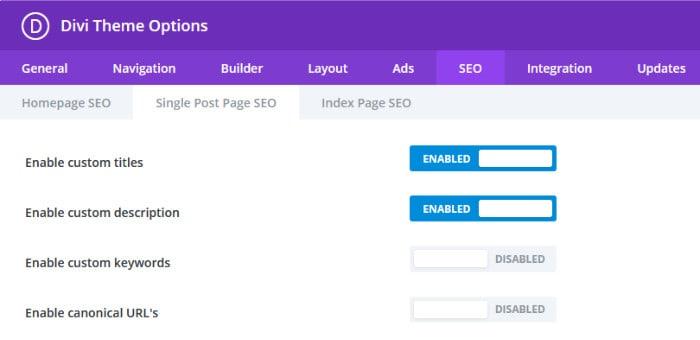 divi seo settings page