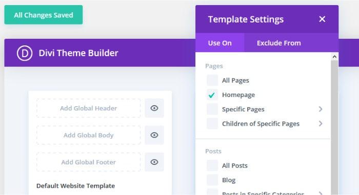 divi theme builder - assigning templates