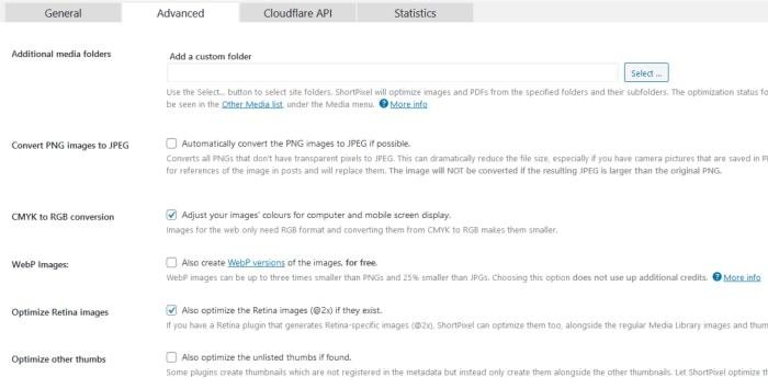 shortpixel wordpress plugin advanced settings